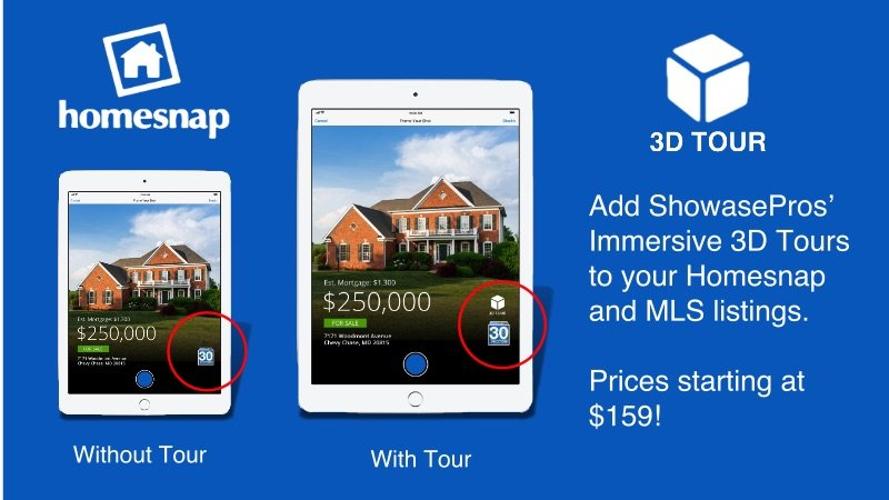 Homesnap – ShowcasePros' Immersive 3D Tours; Right Up Front On The APP!